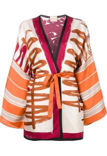 Erika Cavallini Jaqueta Com Estilo Kimono - Laranja
