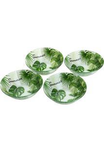 Conjunto 4 Bowls De Vidro P/Sobremesa 15Cm E 380Ml – Linha Leaves Verde