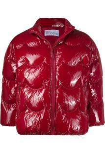 Red Valentino Jaqueta Matelassê Envernizada - Vermelho