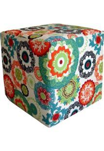 Puff Decorativo Nay Multicoisas Estofados Quadrado Tecido Floral Laranja