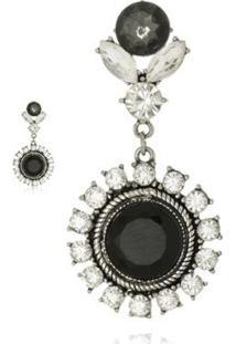 Brinco Le Diamond Cristal Lapidado E Macro Zircônia Prateado - Feminino-Prata