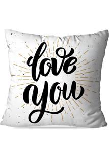 Capa De Almofada Avulsa Decorativa Love You 35X35Cm