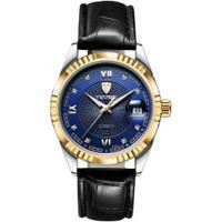 4d8d96767ad Relógio Tevise 629-003 Masculino Automático Pulseira De Couro - Azul E  Dourado