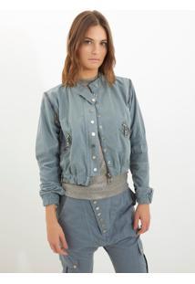 Jaqueta Bobô Charlotte Jeans Azul Feminina (Cinza Claro, P)