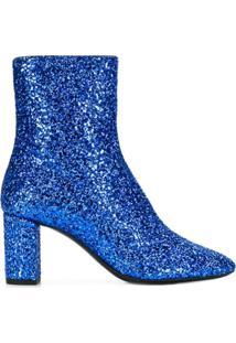 Saint Laurent Ankle Boot Com Brilho - Azul