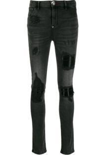 Philipp Plein Calça Jeans Skinny Destroyed - Cinza