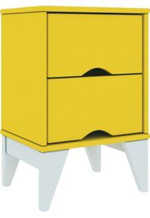Mesa De Cabeceira 02 Gavetas Twister Tililin Móveis -Amarelo / Branco