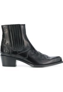 Calvin Klein 205W39Nyc Ankle Boot Cowboy De Couro - Preto