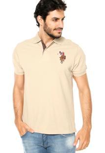 Camisa Polo U.S. Polo Bordado Bege