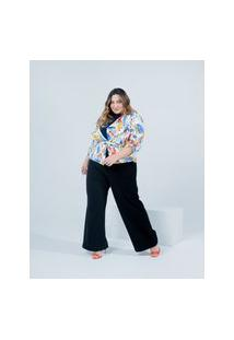 Jaqueta Almaria Plus Size Miss Taylor Estampada Off-White