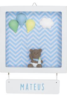Enfeite Maternidade Urso Ursinho Bexiga Menino Chevron Bebê Potinho De Mel