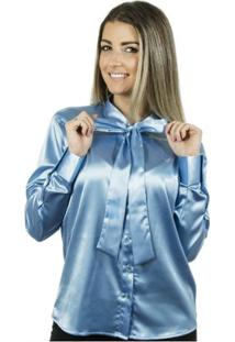 Camisa Pimenta Rosada Laço Aqua - Feminino-Azul Claro