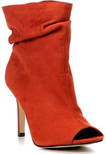 Ankle Boot Couro Shoestock Slouch Salto Fino - Feminino-Caramelo