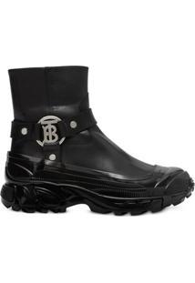 Burberry Ankle Boot Com Estampa Monogramada E Detalhe De Fivela - A1189