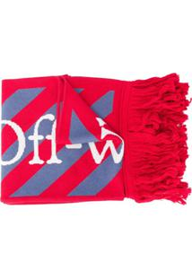 Off-White Echarpe Com Logo Bordado - Vermelho