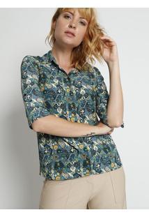 Camisa Floral- Verde Petrã³Leo & Amarela- Intensintens