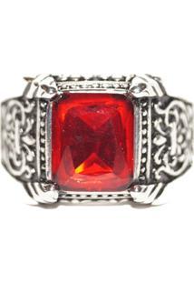 Anel Pedra Vermelha Resinada Em Inox- Sir.W - Kanui