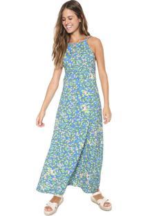 Vestido Redley Longo Jardim Azul