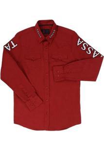 Camisa Masculina Manga Longa Bordada - Masculino-Vermelho