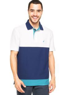 Camisa Polo Nautica Logo Branca/Azul-Marinho