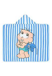 Toalha Banho Bebê Masculino Listrada Azul Cebolinha Baby Com Capuz - Turma Da Mônica - Tamanho Único - Azul,Branco