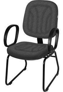 Cadeira Interlocutor Base Trapã©Zio C/ Braã§O Cinza - Cinza - Dafiti