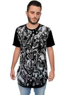 Camiseta Longline Ramavi Palhaços Preta