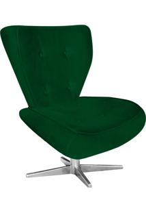 Poltrona Decorativa Tathy Suede Verde Com Base Estrela Aço Cromado - D'Rossi