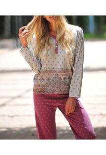 Pijama Longo Peitilho Abotoável Étnica Lua Cheia (0950) Poliviscose