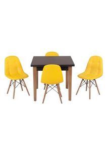 Conjunto Mesa De Jantar Luiza 80Cm Preta Com 4 Cadeiras Botonê - Amarelo