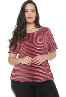 Blusa Cativa Plus Listrada Vermelha/Preta
