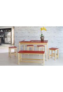 Sala De Jantar Gourmet De Madeira Maciça Taeda Natural Com Tampo Colorido Olga - Verniz Natural/Vermelho 120X80X75Cm