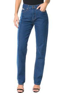 Calça Calvin Klein Jeans Five Pockets Straight High Azul Médio - 36
