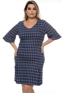 Vestido Xadrez Azul Plus Size