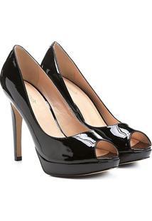Peep Toe Shoestock Meia Pata - Feminino-Preto