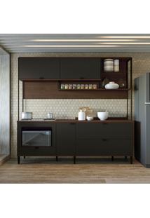 Cozinha Compacta Kath 5 Pt 3 Gv Jacarandá E Preta