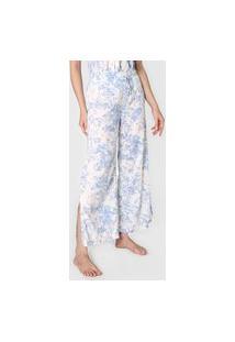 Calça Gap Underwear Reta Floral Off-White/Azul