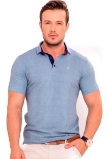 Camiseta Polo Azul Claro Com Póa Azul Marinho E Vermelho - Masculino