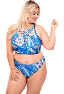 Biquíni Strappy Plus Size Azul Royal