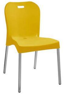 Cadeira Com Pé De Alumínio Sem Braço Amarela Paramount Plásticos