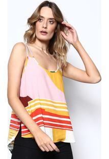 Blusa Listrada Com Fendas- Rosa Claro & Amarela- Somsommer