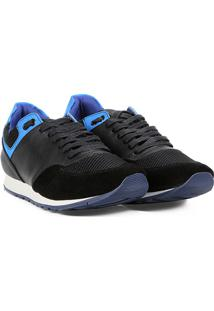 Tênis Couro Colcci Jogging Isaac Masculino - Masculino-Preto+Azul