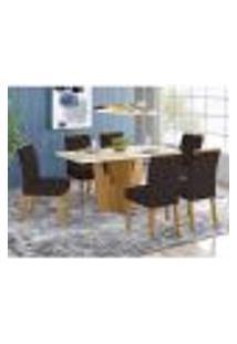 Mesa De Jantar Vértice 160Cm 6 Cadeiras Vita - Nature/Off White/Marrom
