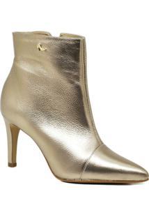 Bota Ankle Boot Elegante Couro Carolina Martori - Feminino-Cinza Claro