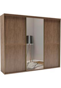 Guarda-Roupa Casal 2,27Cm 3 Portas C/ Espelho Sofisticado-Belmax - Ebano