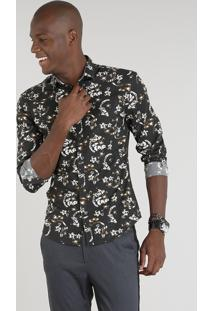 Camisa Masculina Slim Estampada Floral Manga Longa Marrom