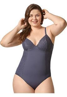 Body Bonjour Plus Size Renda Floral - Feminino-Marinho