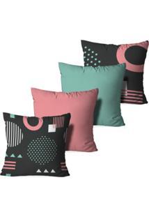 Kit 4 Capas Para Almofadas Decorativas Love Decor Geométrico Multicolorido Rosa