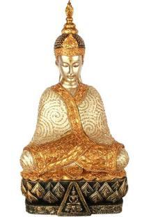 Estátua Buda Tailandês No Trono - Gold