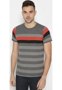 Camiseta Listrada- Cinza & Vermelhaclub Polo Collection
